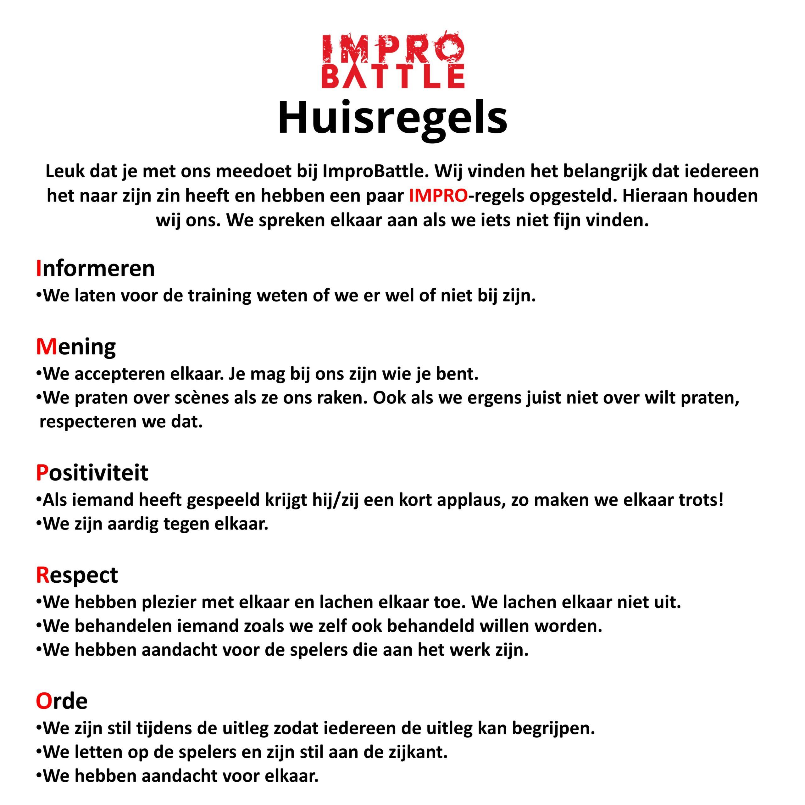 Huisregels ImproBattle Den Haag